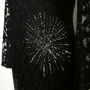 Free People Dresses - FREE PEOPLE Black North Star Lace Mini Dress 6